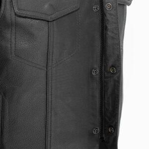 8d28af32a Men's Leather Vest Sniper Soft Milled Cowhide Bike Vest by Firstmfg
