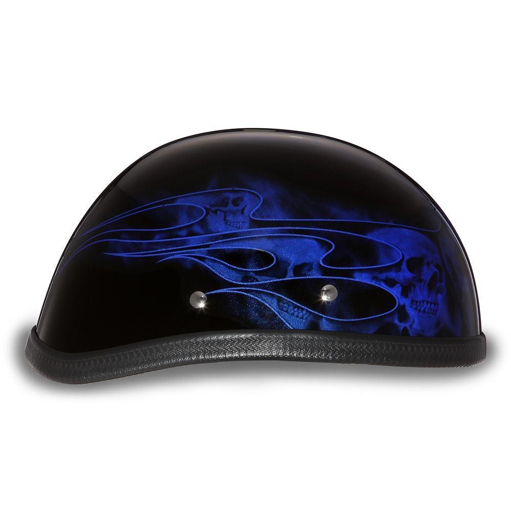 Daytona Helmets Skull Cap EAGLE-W// FLAMES SILVER Motorcycle Helmet