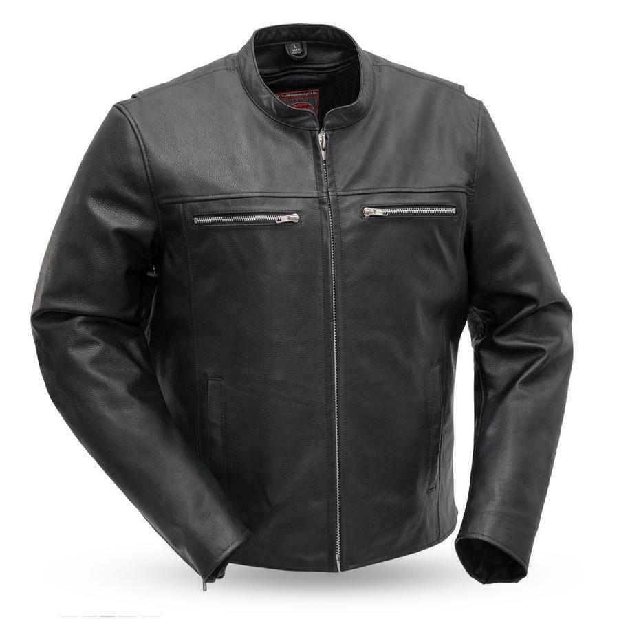 Amazon.com: Mens Drum Dyed Naked Leather Motorcycle Jacket