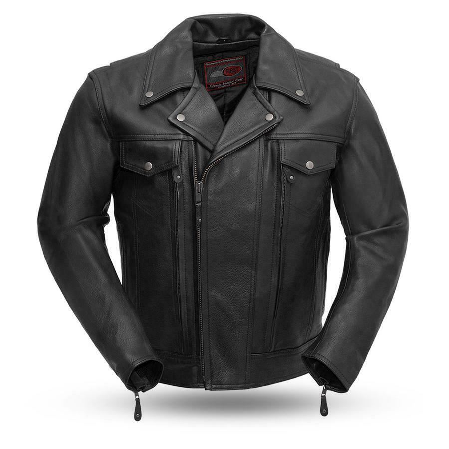 Mens Biker Leather 1.1-1.2mm Drum Dyed Naked Cowhide