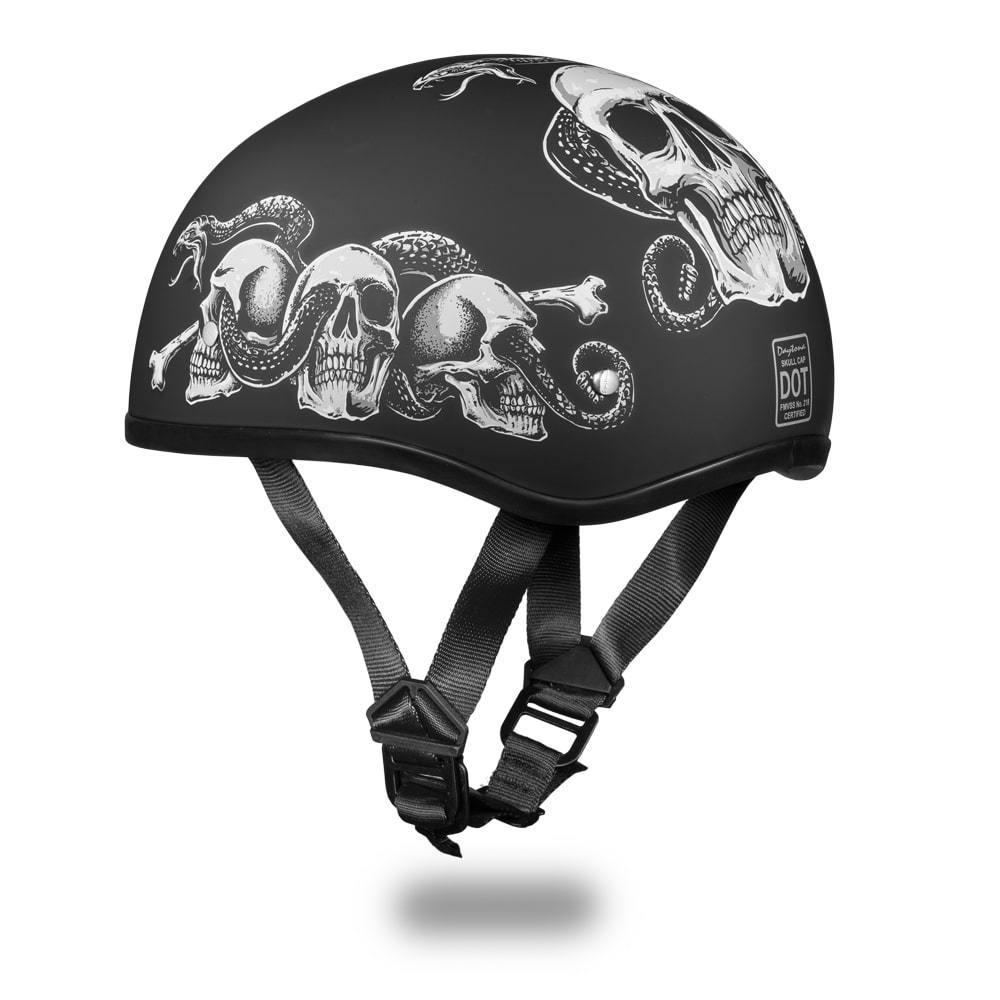 45b8acb6dc8 Daytona Helmets Skull Cap Open Face W  SNAKE SKULLS DOT Motorcycle ...