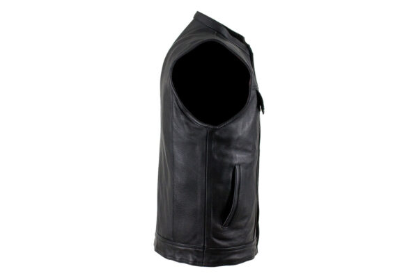 Men/'s Leather Jacket Club Zippered Pocket Motorcycle Vest